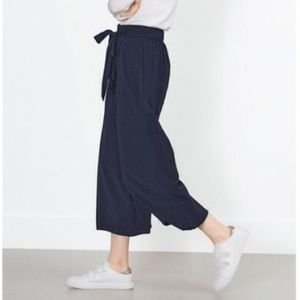 ZARA High Tie Waisted Cropped Culotte Pants